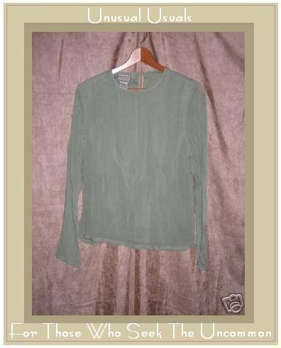 April Cornell Layered Green Tunic Top Shirt Medium M