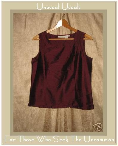 J. Jill Rich Burgundy Silk Shapely Sleeveless Shirt Top Small S