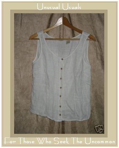 J. Jill Soft White Linen Fitted Shirt Tank Top Small S