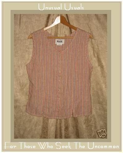 FLAX Jeanne Engelhart Striped Linen Shirt Tank Top Small S