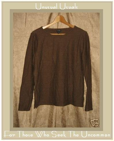 EILEEN FISHER Brown Wool Knit Pullover shirt top Small S