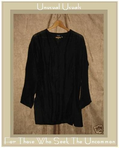 EILEEN FISHER Long Black LINEN Tunic Top Jacket Small S