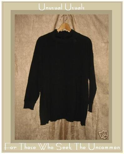 J. Jill Black Knit Turtleneck Tunic Top Shirt XL X-Large