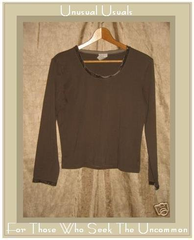 J. Jill Soft Brown Velvet Trim Knit Pullover shirt top MP Medium Petite