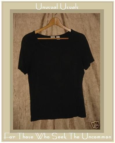 J. Jill Stretch Soft Black Knit Tee shirt top Medium M