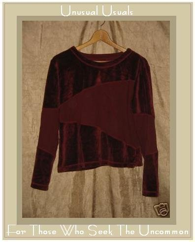 J. Jill Soft Burgundy Velour Knit Pullover shirt top Medium M