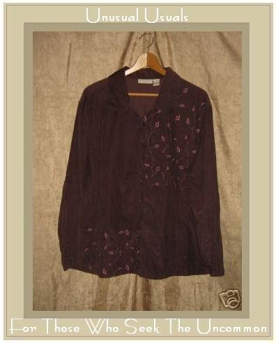 J. JILL Purple Corduroy Button Shirt Tunic Top 2X