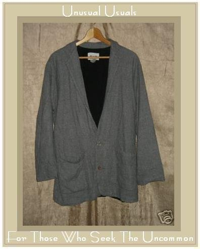 FLAX by Angelheart Jeanne Engelhart Gray Wool Blazer Jacket Large L