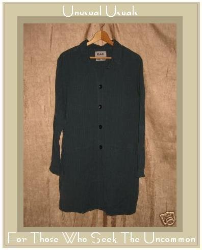 FLAX Long Jewel Blue Duster Jacket Tunic Top Jeanne Engelhart Large L