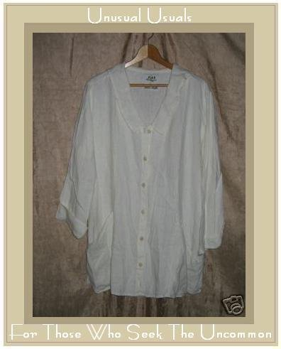 FLAX by Jeanne Engelhart Long White Linen Smock Jacket Tunic Top Medium M