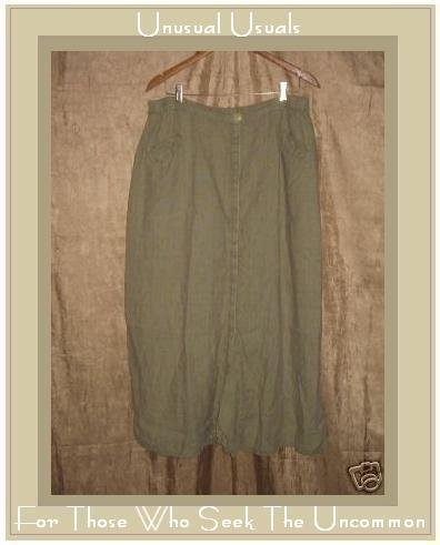 FLAX by Jeanne Engelhart Sage LINEN Button Skirt 3G