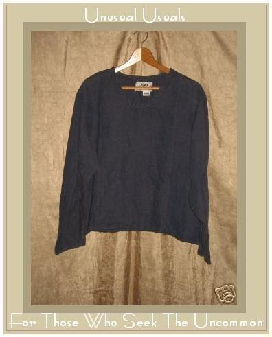 FLAX by Jeanne Engelhart Blue Linen Shirt Top Large L