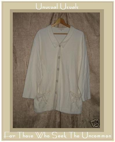 Clothespin Soft Cream Knit Button Cardigan Top Small S