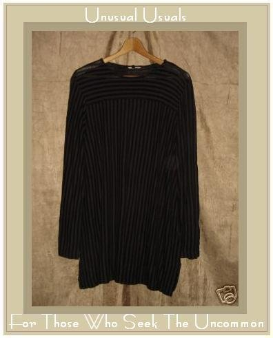 CLOTHESPIN Soft Black & Purple Stripe Knit Pullover shirt Tunic Top Medium M