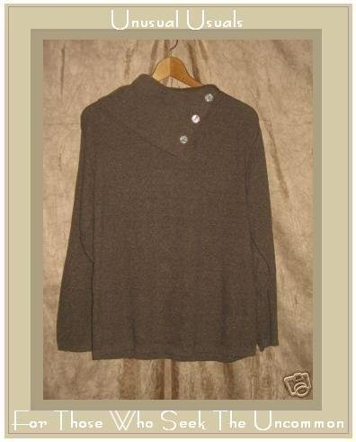 Coldwater Creek Soft Brown Knit Pullover shirt top PM Petite Medium
