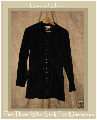 Coldwater Creek Black Velvet Tunic Button Jacket Size 6