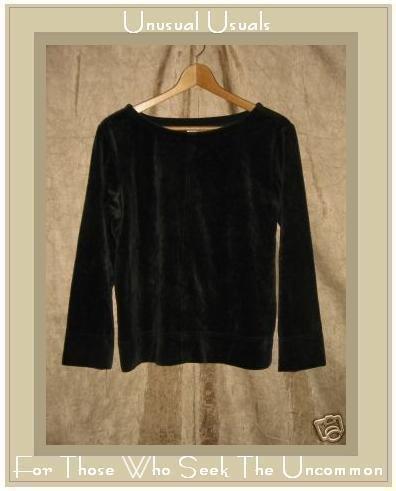 NYL Wear Soft Black Velour Pullover shirt top Medium M