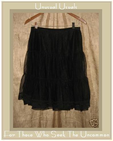 FREE PEOPLE Floaty Full Layered Black Tulle Knee Skirt Medium M