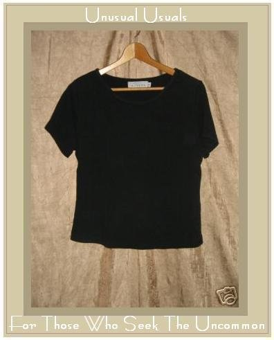 WILLOW Soft Black Knit Fitted Tee shirt top Small S