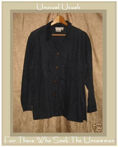 David Dart Dark Blue Linen Button Shirt Tunic Top Small S