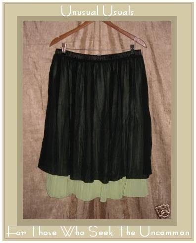 Lapis Floaty Full Silk Layered Black & Lime Knee Skirt XL