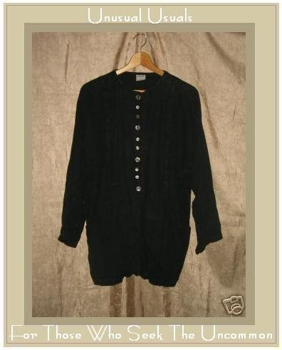 GERTIES Black Linen Tunic Top Jacket Medium M