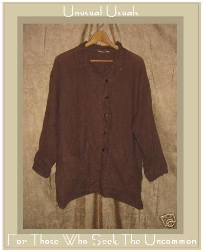 Kiko Brown LINEN Button Jacket Shirt Top One Size