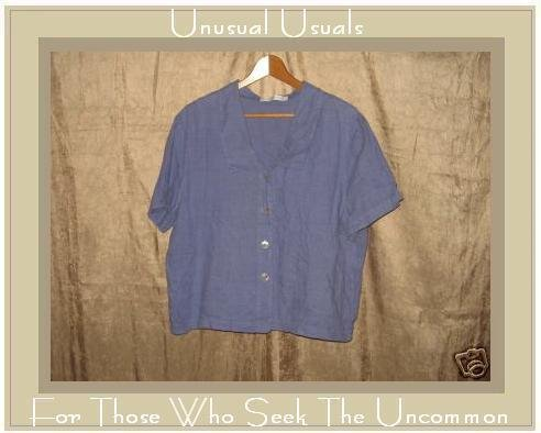 CUT LOOSE Periwinkle Blue LINEN Button Shirt X-Large XL