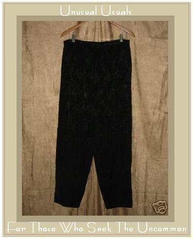 CP SHADES Long Black Floral Rayon Pants Large L