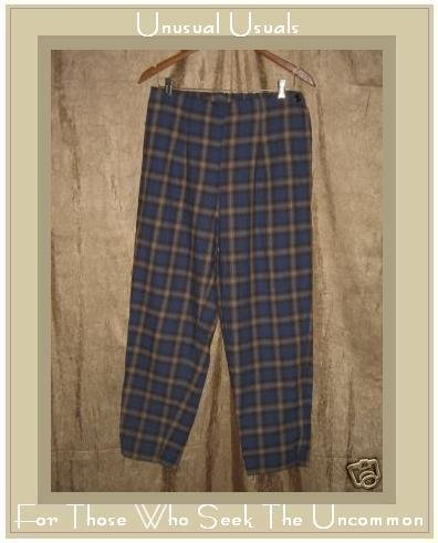 FLAX Soft Blue Plaid Flannel Side Button Pants Jeanne Engelhart Small S
