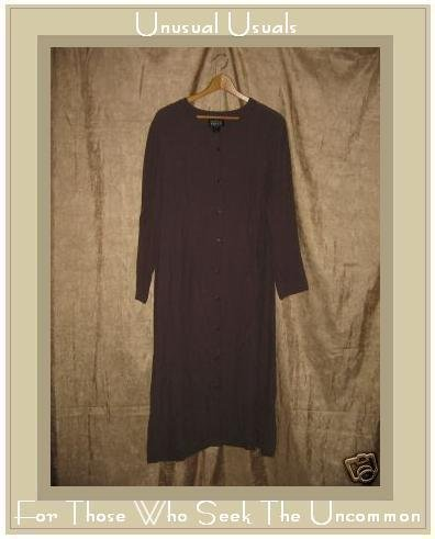 EILEEN FISHER Long Brown Rayon Button Dress Size 1 MEDIUM M