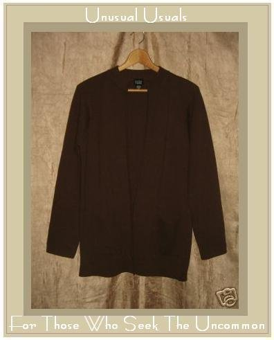 EILEEN FISHER Long Brown Wool Cardigan Sweater Tunic Top Small S