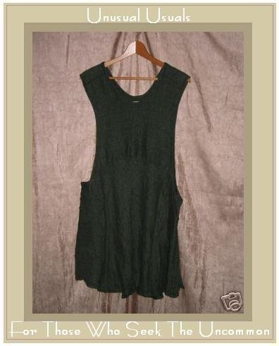 FLAX by Jeanne Engelhart Green Thermal LINEN Vestment Jump Dress MEDIUM M