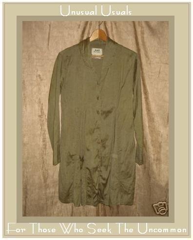 FLAX Jeanne Engelhart Long Shapely Sage Silk GaGa Godete Jacket Petite P