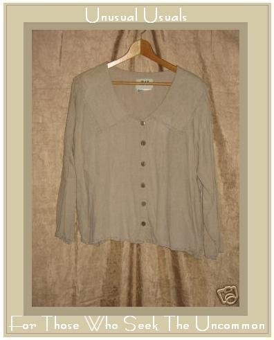 FLAX by Jeanne Engelheart LINEN Floppy Collar Shirt Top Small S