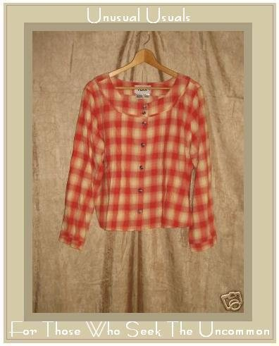 NEW FLAX Soft Plaid Shirt Top Jeanne Engelheart Medium M
