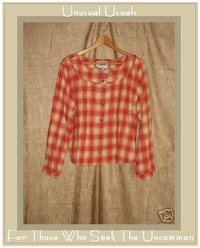 NEW FLAX Soft Plaid Shirt Top Jeanne Engelheart Medium M