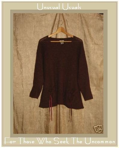 NEESH by DAR Softest Long Russet Tunic Sweater with Ribbon Pockets Small S Medium M