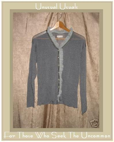 New NEESH by D.A.R. Slinky Gray Ruffle Cardigan Sweater Medium Large M L