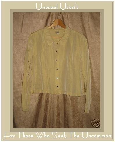 NEESH by D.A.R. Funky Yellow Acetate Button Shirt Top Medium Large M L