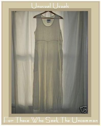 FLAX by Jeanne Engehart White Linen Dress Flax Medium M