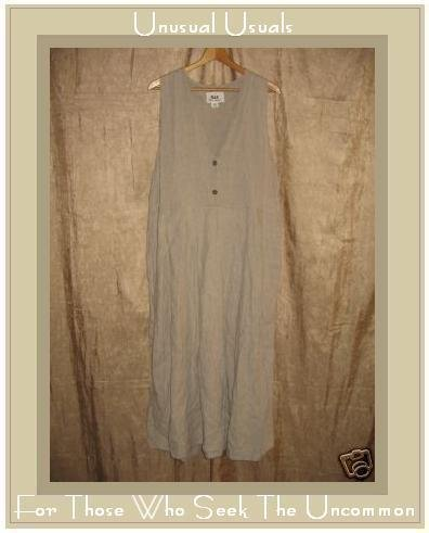 FLAX by Jeanne Engelhart Natural Linen Jump Dress Medium M