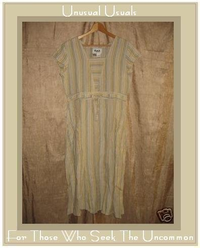FLAX Striped Drawstring Waist Dress Jeanne Engelhart PETITE P