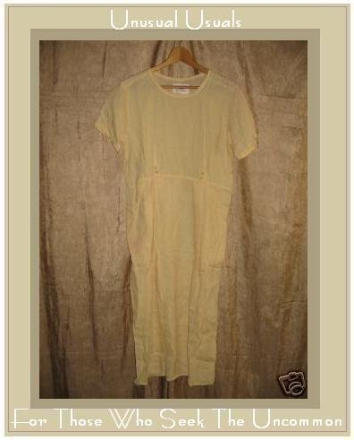 FLAX by Jeanne Engelhart Yellow LINEN Dress PETITE P