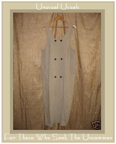 FLAX by Jeanne Engelhart Striped LINEN Jump Dress MEDIUM M