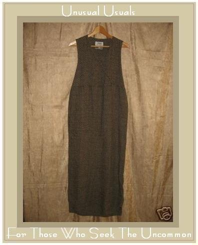 FLAX by Jeanne Engelhart Basket Weave LINEN Diagonal Wrap DRESS Small S
