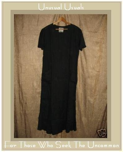 FLAX by Jeanne Engelhart Black LINEN Tied Waist Dress SMALL S