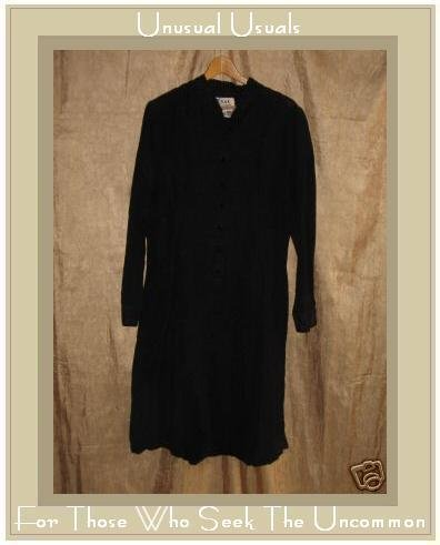 FLAX by Jeanne Engelhart Long Black Shapely Dress Jacket SMALL S