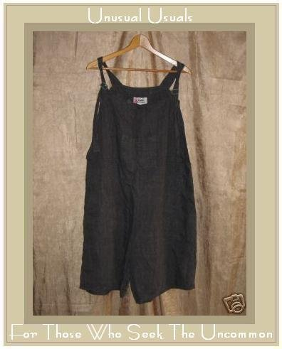 FLAX by Jeanne Engelhart Short Overalls LARGE L