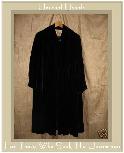 Long Softest Black Vintage Velvet Coat Cloak 1950's 50's Large L